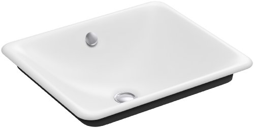 Vintage Undermount Bathroom Sink - Kohler K-5400-P5-0 Cast Iron undermount Rectangular Bathroom Sink, 18.5 x 15.75 x 6.3125 inches, White