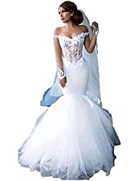 Women's Off The Shoulder Wedding Dresses Ball Gown Long Sleeve Mermaid Tulle Wedding Dresses for Bride 2019