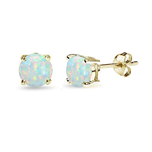 Sterling Silver Simulated Opal 6mm Round Stud Earrings, All Colors