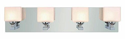 - Four Light Polished Chrome White Opal Cube Glass Vanity