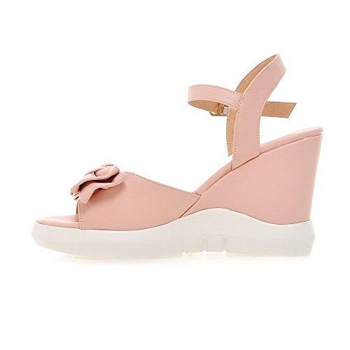 Pink High Women's VogueZone009 Open Sandals Buckle Toe Solid PU Heels ZYwzqBwxA