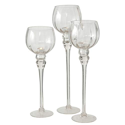 (Whole House Worlds The Spectacular Cape Cod Long Stem Candle Holders, Set of 3, Crystal Clear Ribbed Glass, Each Over 1 Ft Tall, (19, 16 1/2 and 15 Inches Tall) For Tealight or Votive Candles)