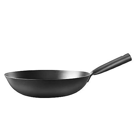 Sartén forjada a mano con base plana, wok de hierro, wok ...