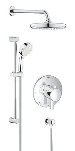 GROHE 35051001 Europlus Perfect Shower Set with Tempesta 210, Chrome