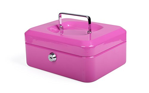 PAVO Premium 8-Inch Metal Cash Box with 2 Keys and Removable Change Tray - Pink