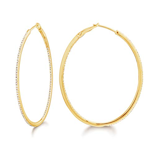14K Gold and Diamond Round/Oval Hoops Fashion Earring