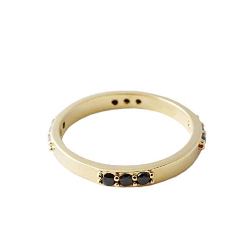 HONEYCAT Spellbound Black Crystal Eternity Ring | Minimalist, Delicate Jewelry (Gold, 5)