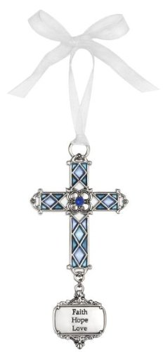 Ganz Christmas Ornaments - Ganz Faith Hope Love Stained Glass Hanging Cross Ornament Size: 3 1/2 inches