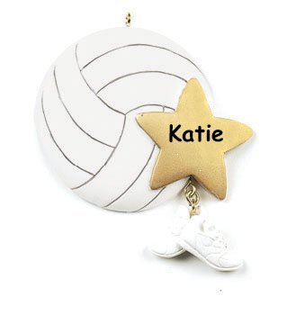 Personalized Volleyball Player Christmas Ornament Ball With Star And Shoes Free Custom Name