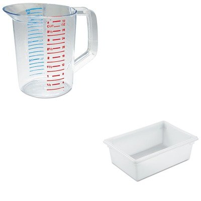 KITRCP3216CLERCP3500WHI - Value Kit - Rubbermaid-White Food Boxes; 12 1/2 Gallon 12 1/2 Gallon (RCP3500WHI) and Rubbermaid-Clear Bouncer Measuring Cups 1 Quart (RCP3216CLE)