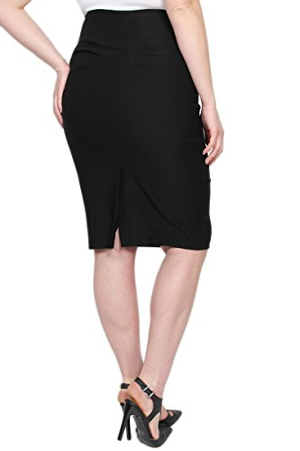 TheMogan Women's Pleated Back High Waisted Pencil Midi Skirt Black 1XL