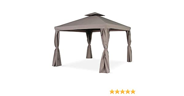 Alices Garden - Pérgola de aluminio - Divodorum 3x3m - Lona gris - Cenador con cortinas, estructura de aluminio: Amazon.es: Jardín
