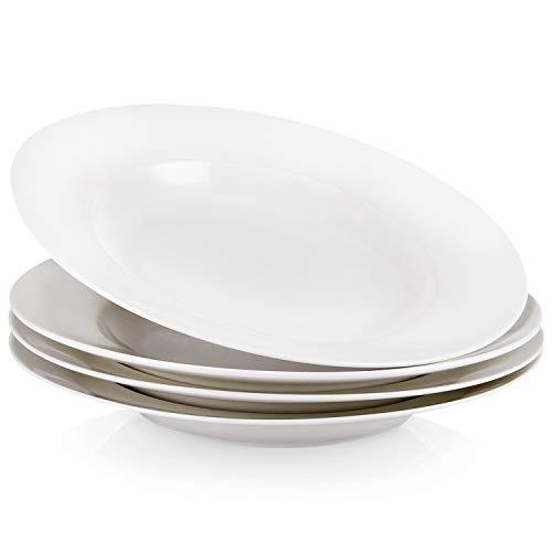 (Porcelain Rim Bowls, 4 Piece Porcelain Pasta Salad Dessert Soup Bowls, 8 Ounce,White)