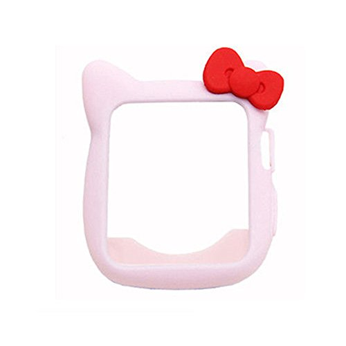 Cute Silicone Case for iWatch, Shock-Proof and Shatter-Resistant Protective Protective Case Compatible for Apple Watch 40mm 44mm 38mm 42mm Series 5 4 3 2 1 (Pink)