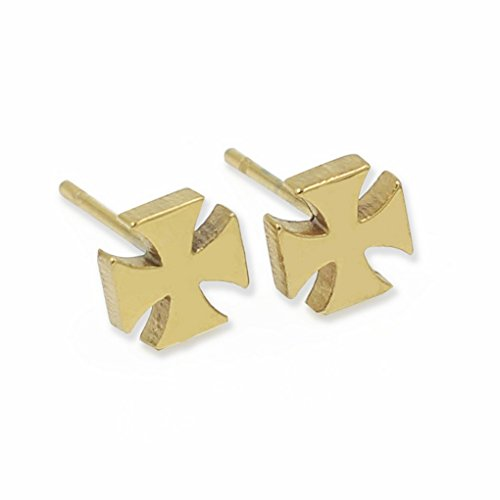 fonk: popular Stainless steel Cross Stud Earrings With Cubic zircon gold plated earring with Crystal earrings