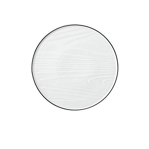 XQJDD Simple creative black side black line ceramic western dish white 24x1.5cm