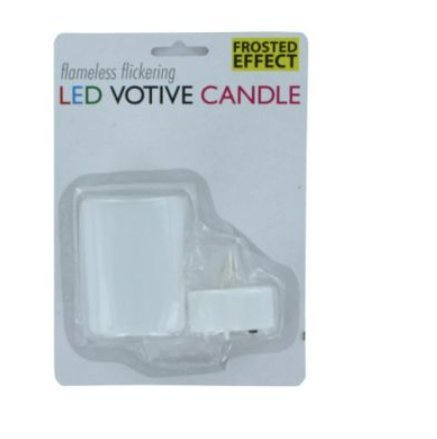 SKB Family Flameless Flickering Led Votive Candle safety holder frosted