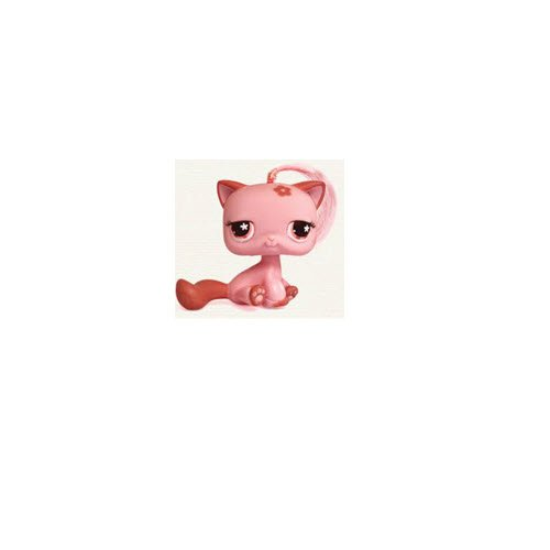 Hasbro Persian Kitten # 603 Kitty Cat (Pink with Long Hair, Sitting and Flower in The Eyes) - Littlest Pet Shop Replacement Figure Loose Retired LPS Collector Toy (Out of Package/OOP) ()