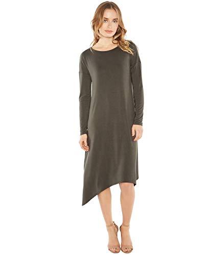 Rohb by Joyce Azria Tribeca Long Sleeve Hanky Hem Dress (Olive) Size S
