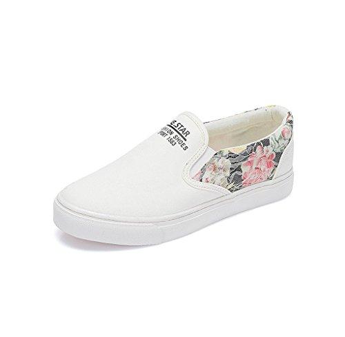 Student atmungsaktive Sommer Leinwand Schuhe Mode flache Schuhe Casual Board Schuhe Damen Schuhe ( Farbe : Weiß , größe : 38 ) Weiß