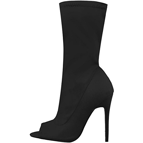 Femme Ouvert Bout Bottines Thirsty Talons Lycra Stretch Fashion Aiguille PUw8xZZ
