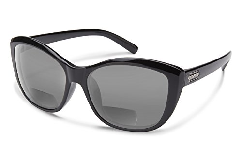 Suncloud Skyline Polarized Bi-Focal Reading Sunglasses in Gloss Black with Grey Lens +1.50 by Suncloud