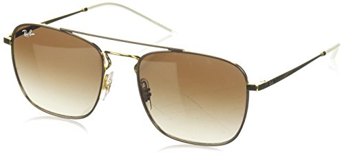 Ray-Ban RB3588 Square Metal Sunglasses, Brown on Gold/Brown Gradient, 55 ()