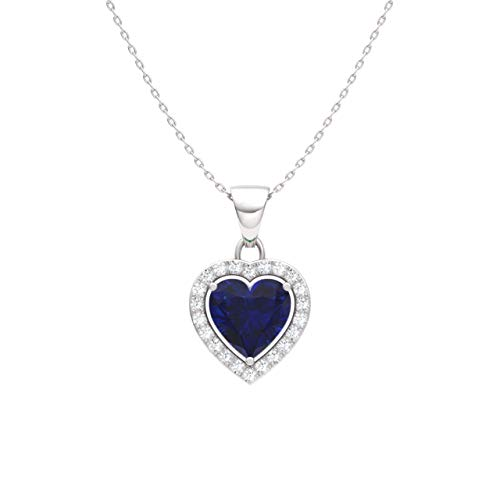 Diamondere Natural and Certified Blue Sapphire and Diamond Heart Petite Necklace in 14k White Gold | 0.51 Carat Pendant with Chain ()