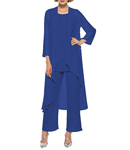 (Women's Chiffon Pant Suits Mother of The Bride 3 Pieces Long Jacket Dress Party Outfits Royal Blue)