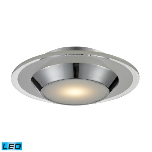 Elk 81060/1 10 by 10-Inch Brentford LED 1-Light Flush Mount with Frosted White Glass Shade, Polished Chrome Finish