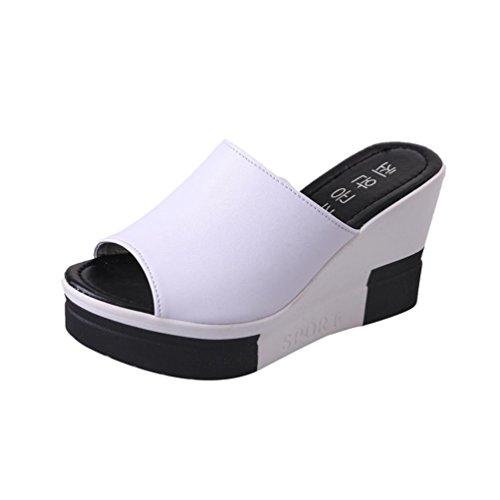 Price comparison product image Fashion Women's Slip-Ons Leather Platforms Wedges Work Safety Sandals (6,  White)