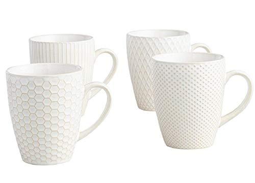 Set of 4 Stripe Textured Stoneware Coffee Mug Large 16.9 Oz - White