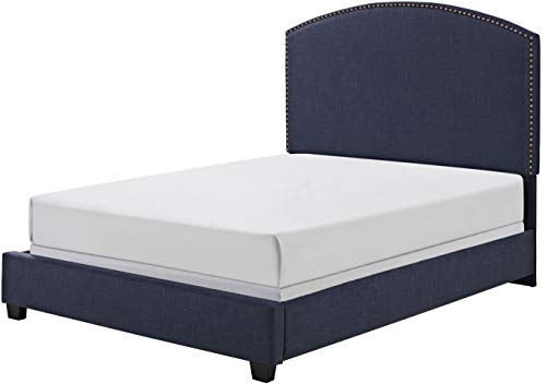 Crosley Furniture KF705008NV Cassie Upholstered Platform Bed and Curved Headboard, Queen, Navy Linen