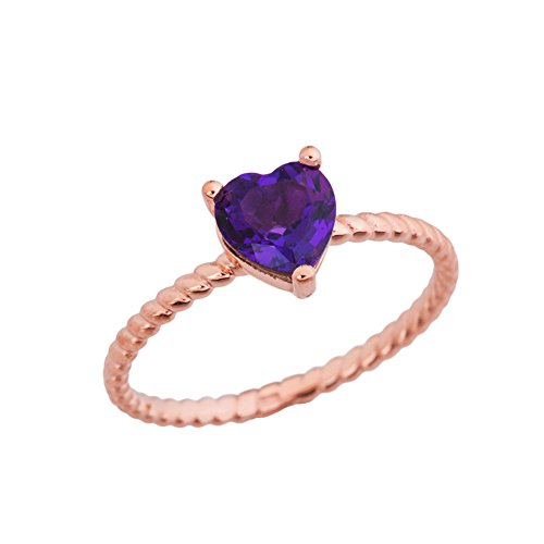 Dainty 10k Rose Gold Heart-Shaped Amethyst Solitaire Rope Engagement/Promise Ring (Size 8)