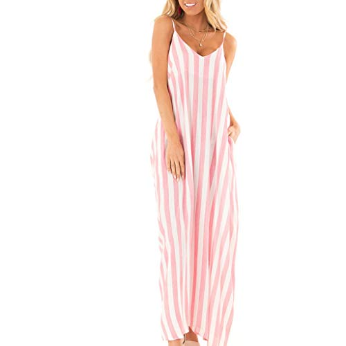 TOTOD Fashion Women Sundress Summer Holiday Strappy Striped Long Boho Dress Beach Maxi Dress Pink