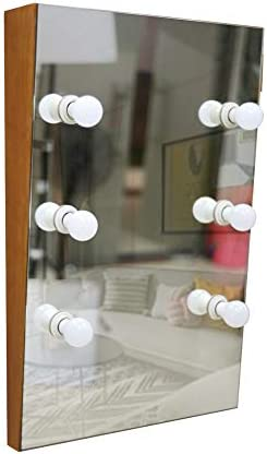 Facilehome Hollywood Style Solid Wood Wall Mounted Vanity Mirror with LED Lights, Lighted Makeup Vanity Mirrors with Dimmer,6 Bulbs