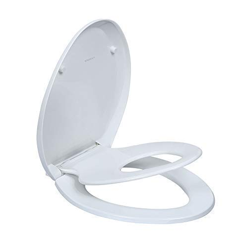 Integrated Hand Grip - Elongated Toilet Seats with Built in Potty Training Seat, Magnetic Kids Seat and Cover, Slow Close, Fits both Adult and Child, Plastic, White