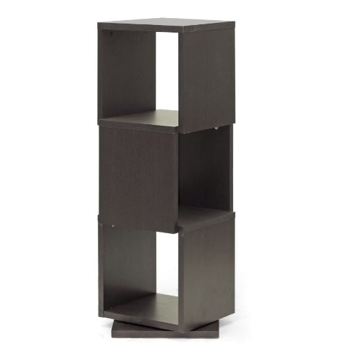 Baxton Studio Ogden 3-Level Rotating Modern Bookshelf, Dark Brown (It Display Storage Mirror)
