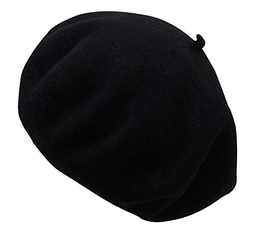 (Women Solid Color French Wool Beret, Black)