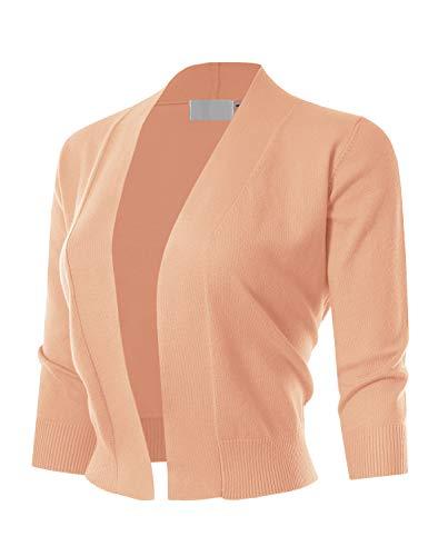 MAYSIX APPAREL Womens 3/4 Sleeve Solid Open Bolero Cropped Cardigan PEACH XL