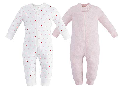 Owlivia Organic Cotton Baby Boy Girl 2 Pack Zip up Sleep N Play, Footless, Long Sleeve(18-24Months, Pink Melange+Pink Heart)