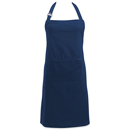 DII Cotton Adjustable Kitchen Chef Apron with Pocket and Extra Long Ties, 32 x 28″, Commercial Men & Women Bib Apron for Cooking, Baking, Crafting, Gardening, BBQ-Nautical Blue