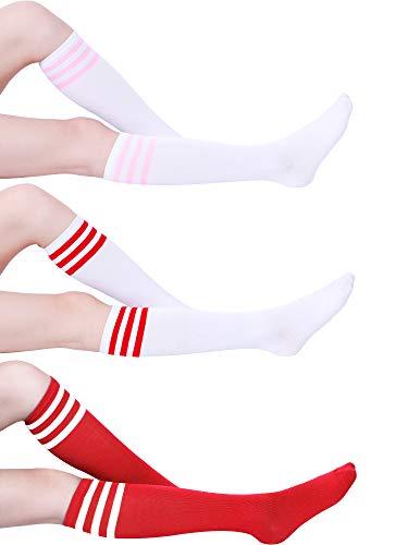 bac782802c7 Tatuo 3 Pairs Classic Triple Stripe Socks Women Knee Thigh High Socks Soft  Cotton Tube Socks