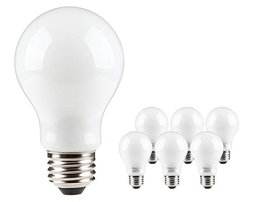 LED Dimmable A19 Frosted Glass Filament Light Bulb, 9W (60W Equivalent) Decorative Milky Light Bulb, UL-Listed & Energy Star, 3000K Warm White, 300°Beam Angle, E26 Base, 3 Years Warranty, Pack of 6
