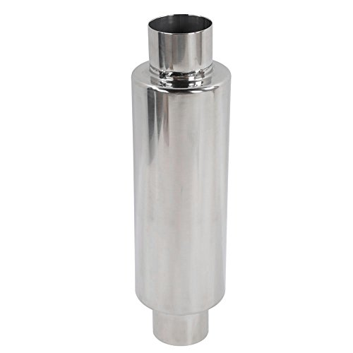 Million Parts Universal N1 Exhaust Turbine Muffler   Resonator 2 5  Inlet Outlet 10  Length 4  Round Body Type Stainless Steel Straight Through Performance Exhaust Muffler Tip For Trucks Car   Silver