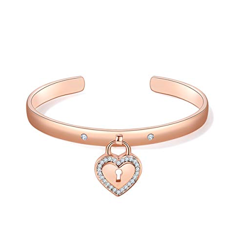 MILATU Heart Bracelet 3A Cubic Zirconia,Rose Gold-Plated Cuff Bangle Bracelet Jewelry Gifts for Women Girls (Heart Cuff Charm)