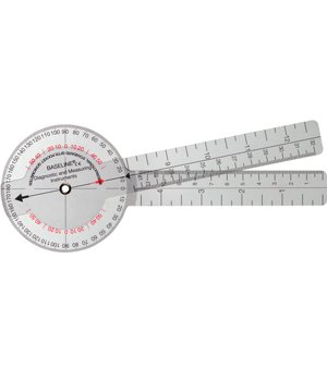Baseline 12-1001-25 Plastic Goniometer 360 Degree Head 8 Inch Arms 25-Pack