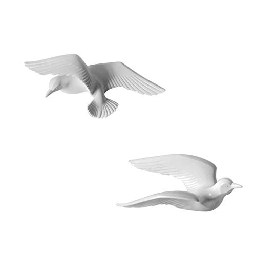 Flameer 2Pcs 3D Resin Seagull Wall Sculptures Mural Home Decor Hanging Decorations White
