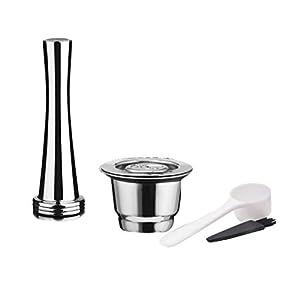 Bomcomi 4PCS / Set in Acciaio Inox riutilizzabili Riutilizzabile caffè Capsule manomettere Sostituzione cialde caffè Tamper Coffee Pod per Nespresso Macchina