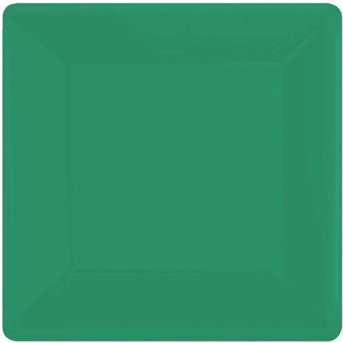 (Festive Green Square Paper Plates | 7
